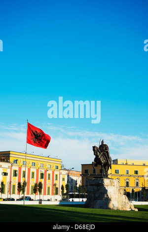 Europe, Albania, Tirana, Europe, Albania, Tirana, equestrian statue of Skanderbeg - Stock Photo