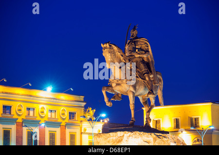 Europe, Albania, Tirana, equestrian statue of Skanderbeg - Stock Photo