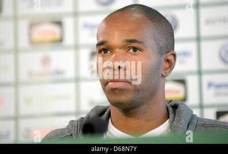 Wolfsburg's new player Naldo looks around at his presentation at a press conference in Wolfsburg, Germany, 19 July - Stock Photo