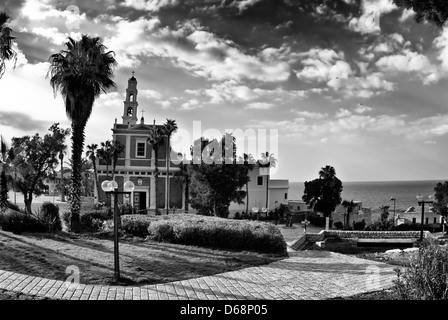 Israel, Tel Aviv-Jaffa, St Peter church in the old city of Jaffa Black and white - Stock Photo