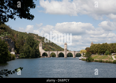 Valentré Bridge over the River Lot in Cahors,  south-western France - Stock Photo