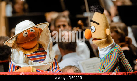 The Sesame Street characters Ernie (L) and Bert take part in a concert at the Schleswig-Holstein Music Festival - Stock Photo