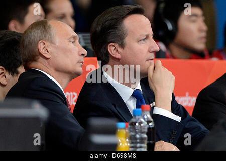 Russian President Vladimir Putin (L) and british President David Cameron attend the London 2012 Olympic Games Judo - Stock Photo