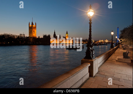 Houses of Parliament on the north bank of the River Thames as seen from the south bank, near Lambeth Bridge. With - Stock Photo