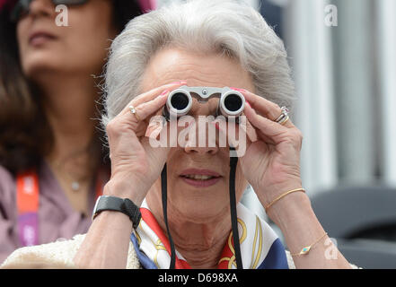 Princess Benedikte of Denmark watches the competition at the London 2012 olympic dressage at Greenwich Park in London, - Stock Photo