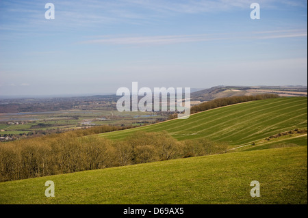 View from Bignor Hill on the South Downs Way, West Sussex, UK - Stock Photo