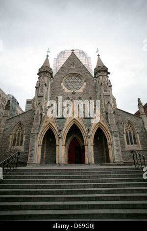 The Christ Church Cathedral is an Anglican Gothic Revival cathedral located on Saint Catherine Street in Montreal, - Stock Photo