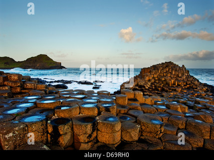 Rock formations in Giant?s Causeway, Antrim, Northern Ireland - Stock Photo