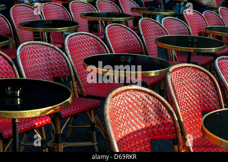 Empty tables and chairs in cafe - Stock Photo