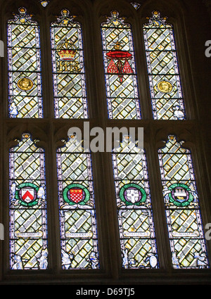 Oxford Oxfordshire Charles Dodgson Lewis Caroll stained glass windows in Christ Church Great Hall - Stock Photo