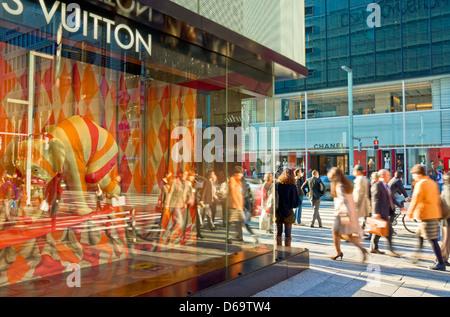Tokyo, Japan. Ginza, Chuo Dori Street, Louis Vuitton in the Matsuya Department Store. - Stock Photo
