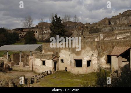 Italy. Ruins of ancient roman town-city of Pompeii. - Stock Photo