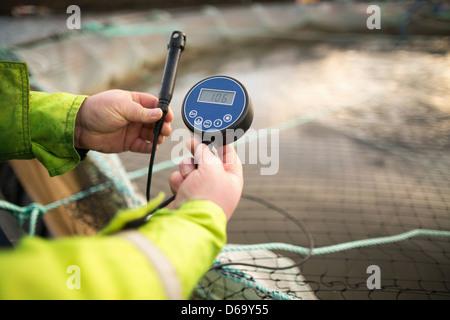 Worker on salmon farm in rural lake - Stock Photo