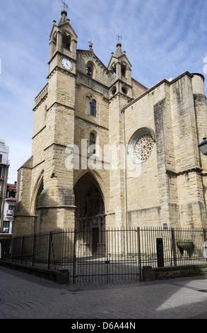 San Vicente Church on Calle San Juan in San Sebastián, Donostia, Basque Country, Spain - Stock Photo
