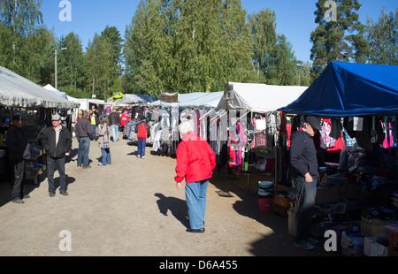 People at Pestuumarkkinat market fair , Rautalampi Finland - Stock Photo