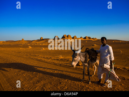 Kid With His Donkey In Front Of The Pyramids And Tombs In Royal Cemetery, Meroe, Sudan - Stock Photo