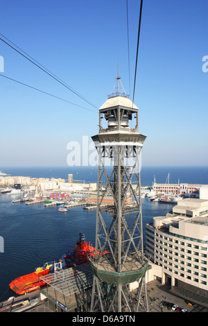 Cable car tower with sea view in Barcelona, Spain - Stock Photo