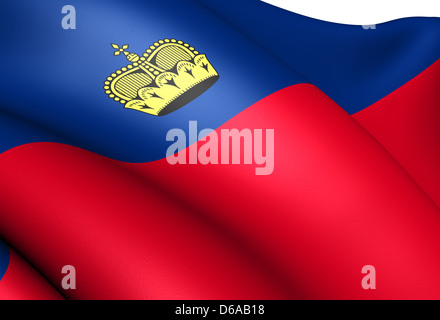 Flag of Liechtenstein. Close Up. - Stock Photo