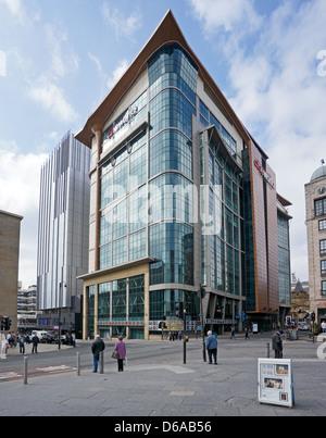 Cineworld cinema in Renfrew Street Glasgow Scotland with Premier Inn building behind left. - Stock Photo