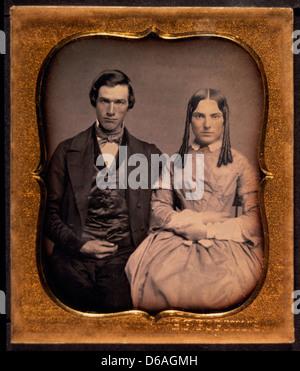 Young Couple in Formal Attire, Portrait, Daguerreotype, Circa 1850's - Stock Photo