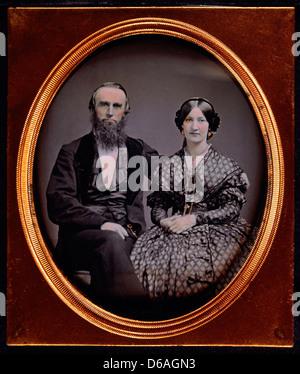 Couple in Formal Attire, Portrait, Daguerreotype, Circa 1850's - Stock Photo