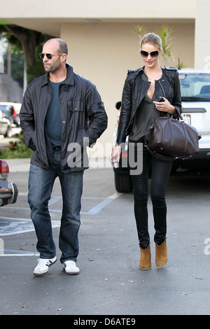 Jason Statham and Rosie Huntington-Whiteley Jason Statham leaving Joan's on Third after having lunch with his girlfriend - Stock Photo