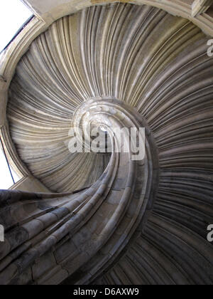 A circular staircase made of stone is visible at the renaissance Palace Hartenfels in Torgau, Germany, 04 August - Stock Photo