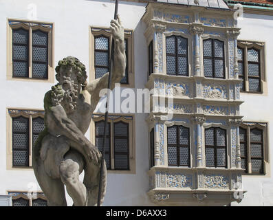 A view of the inner courtyard of Renaissance Palace Hartenfels is pictured in Torgau, Germany, 04 August 2012. Construction - Stock Photo