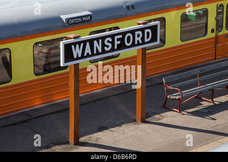 Wansford Station Sign - Stock Photo