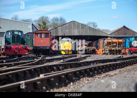 Trains at Railway Sidings - Stock Photo