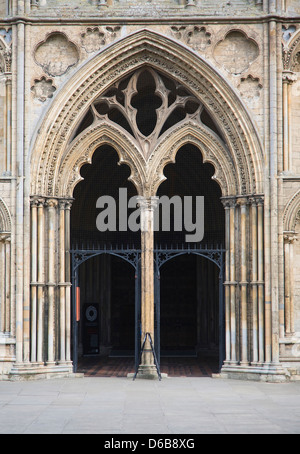 Entrance doorway to west tower of Ely cathedral, Cambridgeshire, England - Stock Photo