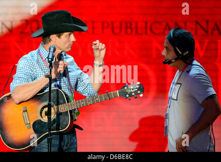 Lane Turner rehearses for his performance at the 2012 Republican National Convention in Tampa Bay, Florida on Monday, - Stock Photo
