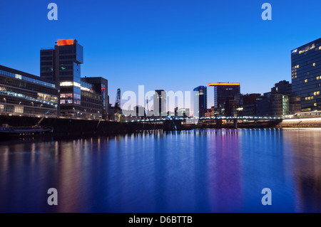 Evening view of the Media Harbor in Duesseldorf, Germany. - Stock Photo