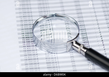 Business concept - Magnifying glass showing profits, toned image. - Stock Photo