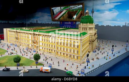 A model of the Berlin City Palace is featured at the Legoland Discovery Center in Berlin, Germany, 06 January 2011. - Stock Photo
