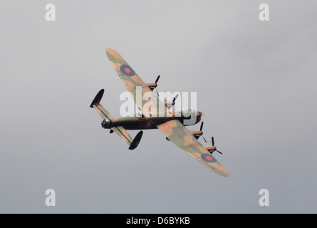 Avro lancaster B1 flying during an air show - Stock Photo