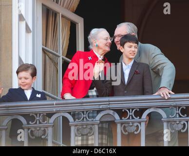 Copenhagen, Denmark. 16th April 2013. Danish Queen Margrethe, Prince Consort Henrik (R), Prince Nikolai (front R) - Stock Photo
