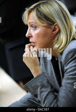 Minister of Justice for Bavaria Beate Merk (CSU)takes part in a press conference at the police office in Dachau, - Stock Photo