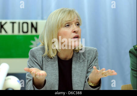 Minister of Justice for Bavaria Beate Merk (CSU) takes part in a press conference at the police office in Dachau, - Stock Photo