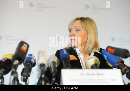 Bavarian Minister of Justice Beate Merk (CSU) is pictured during a press conference at the Palace of Justice on - Stock Photo