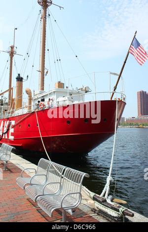 Red Chesapeake ship in Baltimore, Maryland, USA - Stock Photo