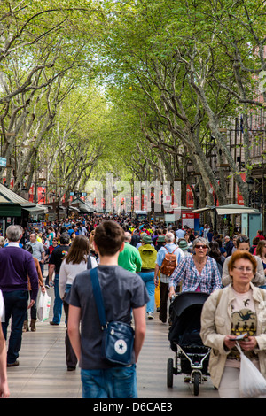 La Rambla street, Barcelona, Catalonia, Spain - Stock Photo