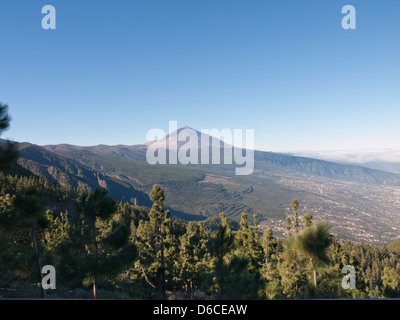 View of Mount Teide and the Orotava valley in Tenerife Spain from a viewing platform along the TF 24 road - Stock Photo