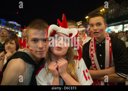 Poznan, Poland, fan mile at Plac Wolnosci during their UEFA Euro 2012 Poland against Russia - Stock Photo