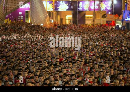 Poznan, Poland, fan mile at Plac Wolnosci during their UEFA Euro 2012 Poland v Czech Republic - Stock Photo