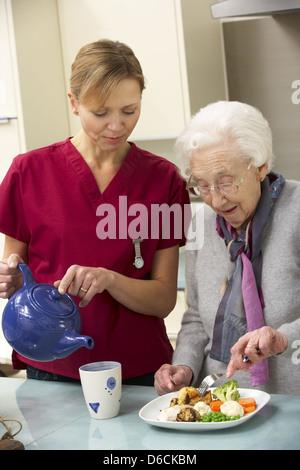 senior,old nurse,nursing home,elderly care,old care - Stock Photo