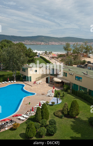Sunny beach, Bulgaria, view over a hotel complex with pool on the Black Sea - Stock Photo