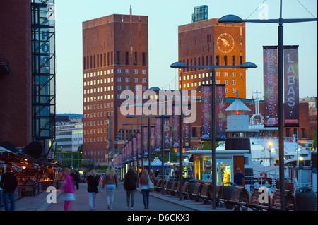Radhus City Hall, waterfront and harbour. Oslo, Norway, Scandinavia, Europe - Stock Photo