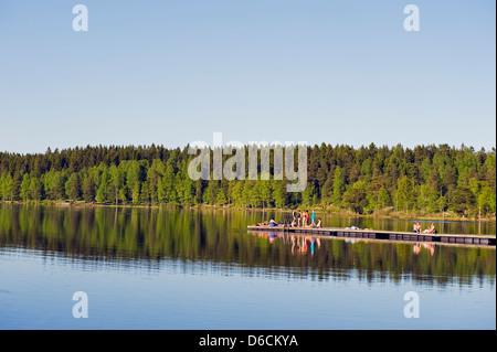 Sognsvann lake, Oslo, Norway, Scandinavia, Europe - Stock Photo