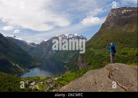 cliff top view over Geiranger Fjord, Unesco World Heritage site, Western Fjords, Norway, Scandinavia, Europe, MR - Stock Photo